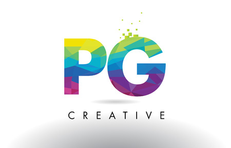 PG P G Colorful Letter Design with Creative Origami Triangles Rainbow Vector.