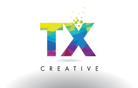 tx: TX T X Colorful Letter Design with Creative Origami Triangles Rainbow Vector.