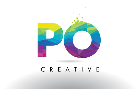 po: PO P O Colorful Letter Design with Creative Origami Triangles Rainbow Vector.