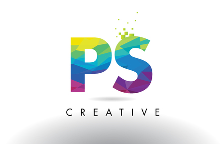 PS P S Colorful Letter Design with Creative Origami Triangles Rainbow Vector.