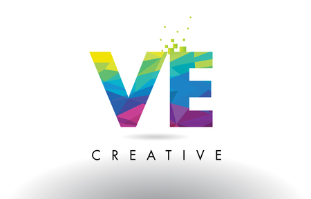 ve: VE V E Colorful Letter Design with Creative Origami Triangles Rainbow Vector.