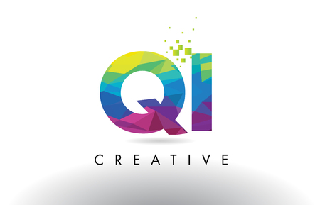 QI Q I Colorful Letter Design with Creative Origami Triangles Rainbow Vector. Illustration