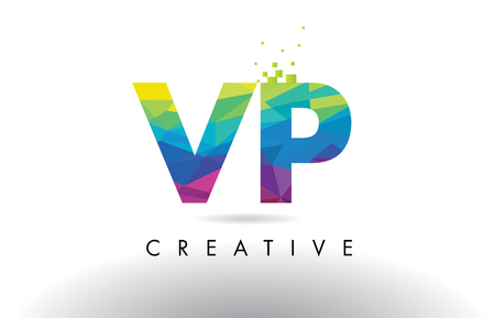 vp: VP V P Colorful Letter Design with Creative Origami Triangles Rainbow Vector. Illustration