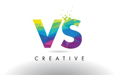 vs: VS V S Colorful Letter Design with Creative Origami Triangles Rainbow Vector.