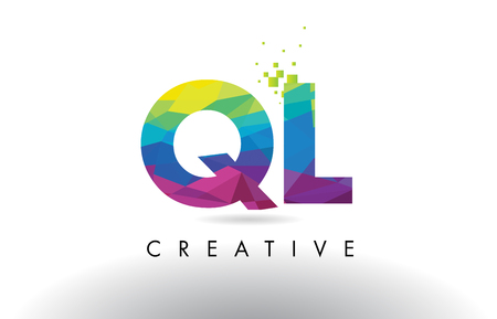 QL Q L Colorful Letter Design with Creative Origami Triangles Rainbow Vector.