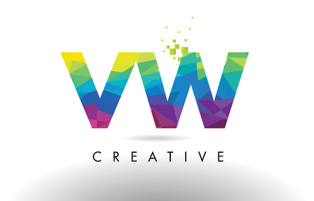 vw: VW V W Colorful Letter Design with Creative Origami Triangles Rainbow Vector. Illustration