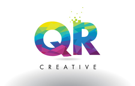QR Q R Colorful Letter Design with Creative Origami Triangles Rainbow Vector.