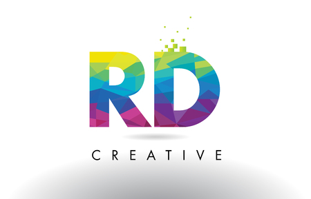 rd: RD R D Colorful Letter Design with Creative Origami Triangles Rainbow Vector. Illustration