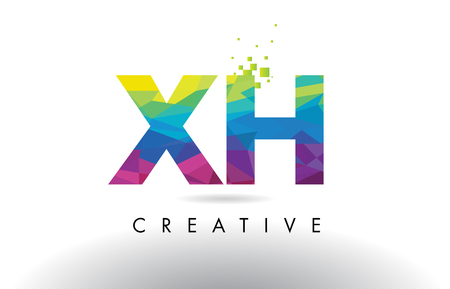 XH X H Colorful Letter Design with Creative Origami Triangles Rainbow Vector.