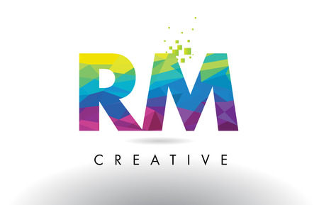 RM R M Colorful Letter Design with Creative Origami Triangles Rainbow Vector.