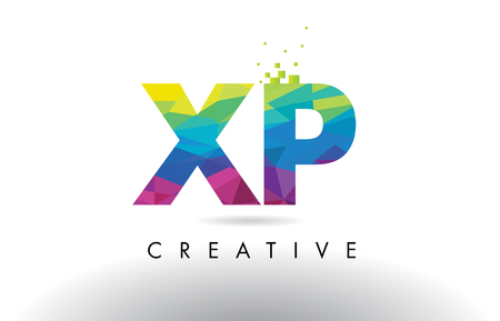XP X P Colorful Letter Design with Creative Origami Triangles Rainbow Vector.