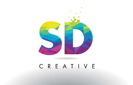 SD S D Colorful Letter Design with Creative Origami Triangles Rainbow Vector.