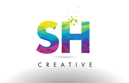 sh: SH S H Colorful Letter Design with Creative Origami Triangles Rainbow Vector.