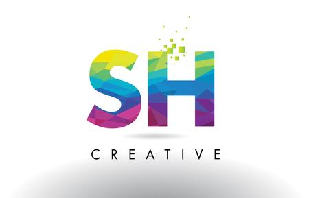 SH SH Bunte Briefgestaltung mit kreativen Origami Dreiecke Regenbogen Vektor. Standard-Bild - 78237856