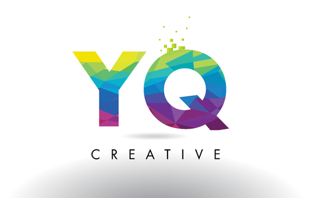 YQ Y Q Colorful Letter Design with Creative Origami Triangles Rainbow Vector.