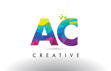 ac: AC A C Colorful Letter Design with Creative Origami Triangles Rainbow Vector.