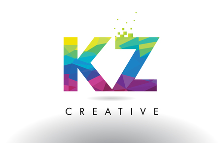 kz: KZ K Z Colorful Letter Design with Creative Origami Triangles Rainbow Vector. Illustration