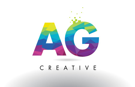 AG A G Colorful Letter Design with Creative Origami Triangles Rainbow Vector.