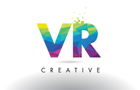 VR V R Colorful Letter Design with Creative Origami Triangles Rainbow Vector.