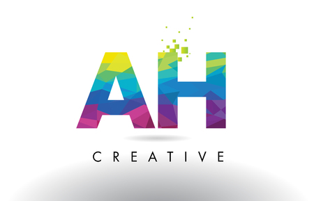 AH A H Colorful Letter Design with Creative Origami Triangles Rainbow Vector.