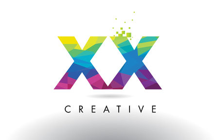 XX X X Colorful Letter Design with Creative Origami Triangles Rainbow Vector. Illustration