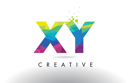 xy: XY X Y Colorful Letter Design with Creative Origami Triangles Rainbow Vector. Illustration