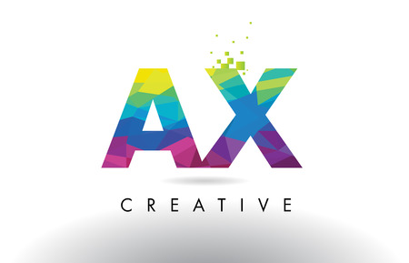 AX A X Colorful Letter Design with Creative Origami Triangles Rainbow Vector.