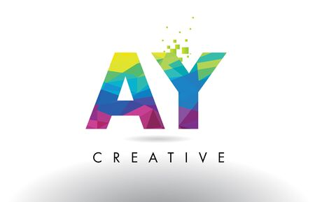 AY A Y Colorful Letter Design with Creative Origami Triangles Rainbow Vector.