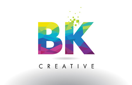 BK B K Colorful Letter Design with Creative Origami Triangles Rainbow Vector.