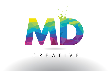 md: MD M D Colorful Letter Design with Creative Origami Triangles Rainbow Vector. Illustration