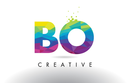 BO B O Colorful Letter Design with Creative Origami Triangles Rainbow Vector.