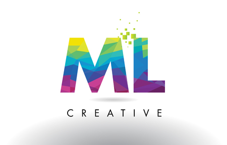 ml: ML M L Colorful Letter Design with Creative Origami Triangles Rainbow Vector.