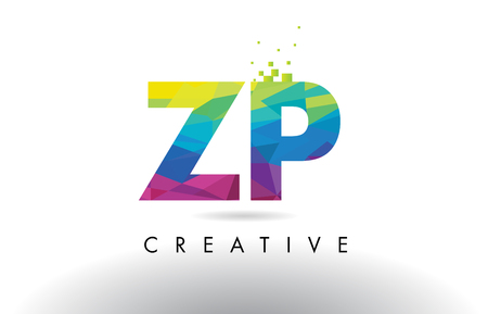 ZP Z P Colorful Letter Design with Creative Origami Triangles Rainbow Vector.
