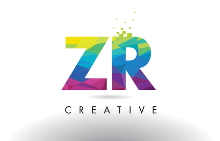 ZR Z R Colorful Letter Design with Creative Origami Triangles Rainbow Vector.