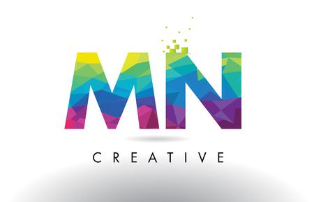 mn: MN M N Colorful Letter Design with Creative Origami Triangles Rainbow Vector.