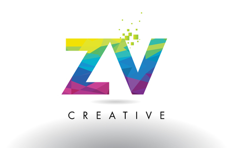ZV Z V Colorful Letter Design with Creative Origami Triangles Rainbow Vector.