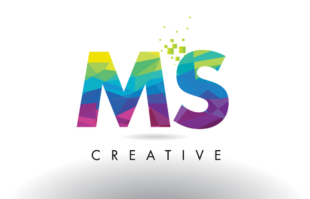 MS M S Colorful Letter Design with Creative Origami Triangles Rainbow Vector.