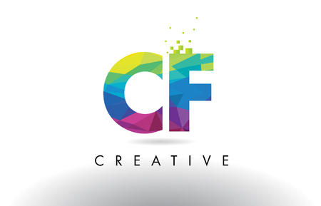 CF C F Colorful Letter Design with Creative Origami Triangles Rainbow Vector. Illustration