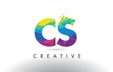 cs: CS C S Colorful Letter Design with Creative Origami Triangles Rainbow Vector. Illustration