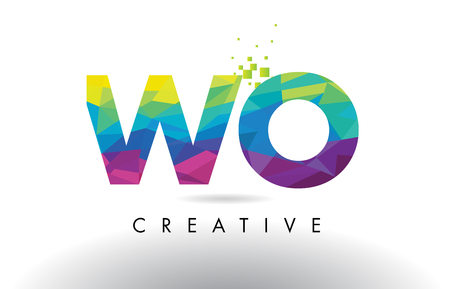 WO W O Colorful Letter Design with Creative Origami Triangles Rainbow Vector.
