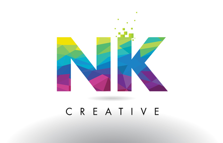 NK N K Colorful Letter Design with Creative Origami Triangles Rainbow Vector.
