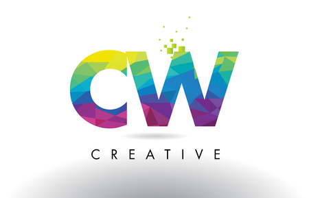w c: CW C W Colorful Letter Design with Creative Origami Triangles Rainbow Vector.