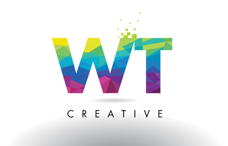 WT W T Colorful Letter Design with Creative Origami Triangles Rainbow Vector. Illustration