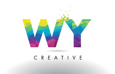 와 와이오리 창조적 인 종이 접기 삼각형 레인 보우 벡터와 함께 다채로운 편지 디자인. 일러스트