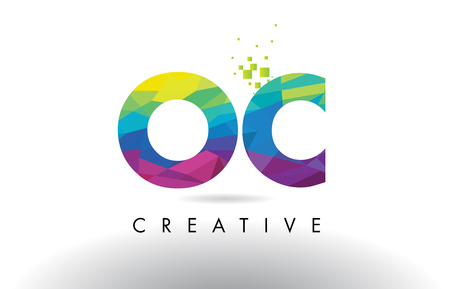 OC O C Colorful Letter Design with Creative Origami Triangles Rainbow Vector. Vetores