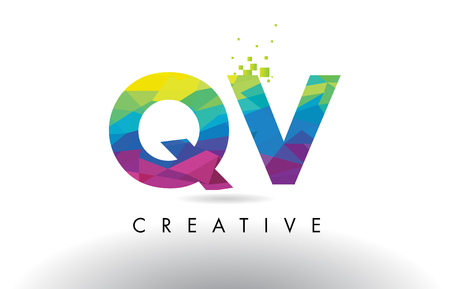 identidad personal: QV Q V Colorful Letter Design with Creative Origami Triangles Rainbow Vector. Vectores