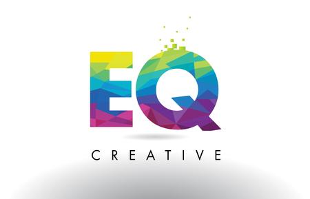 EQ E Q Colorful Letter Design with Creative Origami Triangles Rainbow Vector.