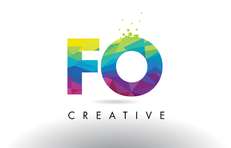FO F O Colorful Letter Design with Creative Origami Triangles Rainbow Vector.