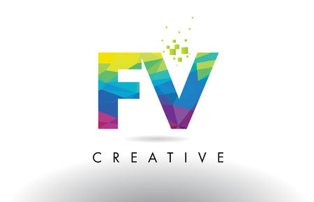 fv: FV F V Colorful Letter Design with Creative Origami Triangles Rainbow Vector. Illustration