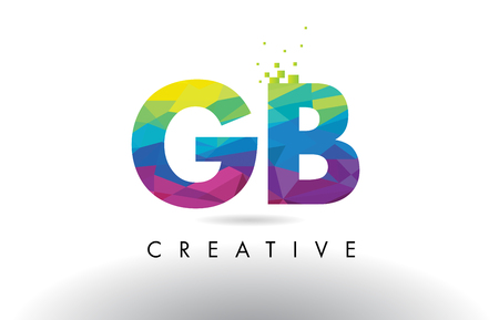 GB G B Colorful Letter Design with Creative Origami Triangles Rainbow Vector.